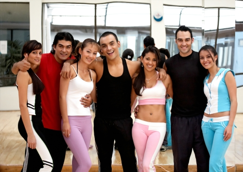 happy friends at gym